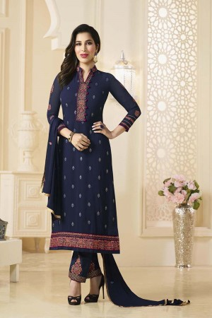 Sophie Choudry Light Grey Georgette Heavy Embroidery on Neck and Bottom Salwar Kameez