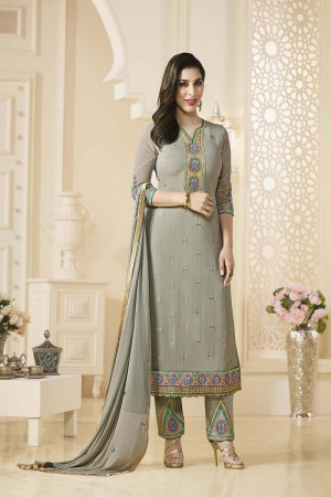Sophie Choudry Black Georgette Heavy Embroidery on Neck and Bottom Salwar Kameez