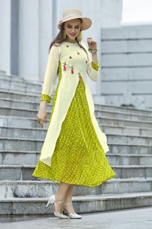 Angellic Green & Offwhite Georgette Print with Fancy Botton  Kurti