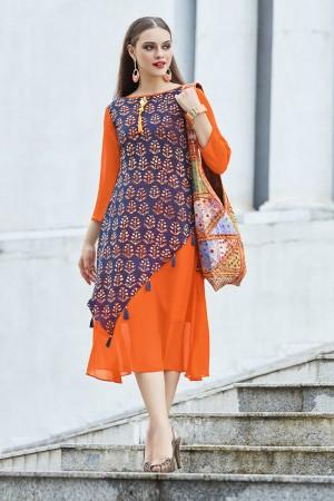 Ethnic Orange & Blue Georgette Print with Fancy Botton  Kurti