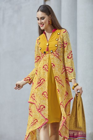 Ravishing Mustard Georgette Print with Fancy Botton  Kurti