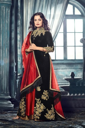 Dia Mirza Black Velvet Heavy Embroidery Coding and Zari Work Salwar Kameez