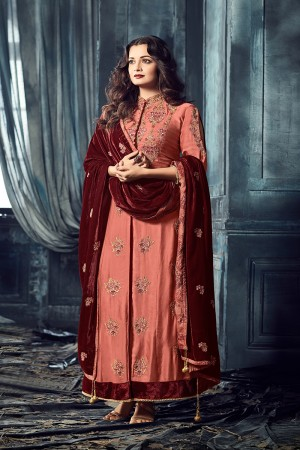Dia Mirza Peach Viscos Heavy Embroidery Zari and Thread Work on Top and Butti Work on Dupatta Salwar Kameez