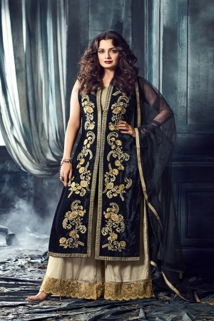Dia Mirza Blue Velvet Heavy Embroidery Zari and Thread Work Salwar Kameez