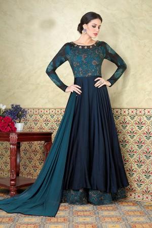 Blooming Aqua Tussar Cotton Muslin Digital Modal Print  Salwar Kameez