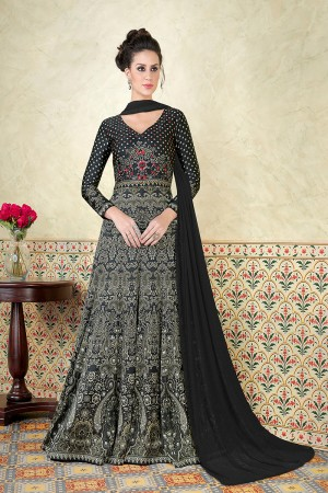Exquisite Black Satin Digital Modal Print  Salwar Kameez