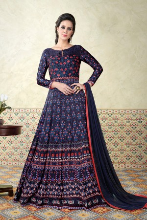 Contemporary Blue Satin Digital Modal Print  Salwar Kameez