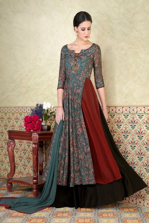 Brilliant Multi Color Tussar Silk Digital Modal Print  Salwar Kameez