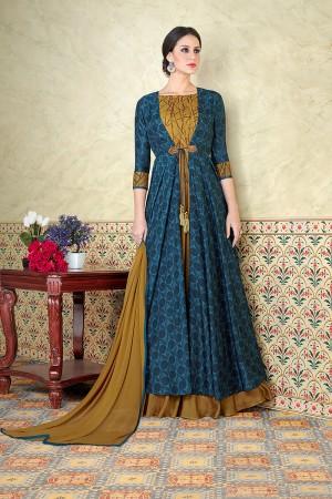 Creative Blue Tussar Silk Digital Modal Print  Salwar Kameez