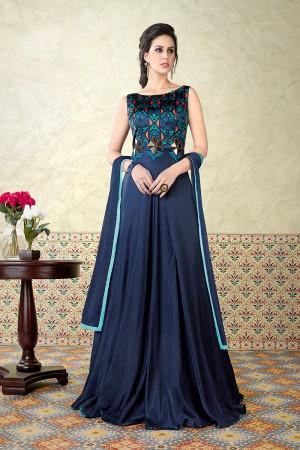 Enticing Blue Satin Digital Modal Print  Salwar Kameez