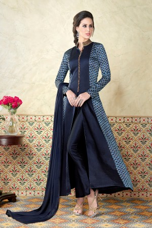 Striking Blue Satin Digital Modal Print  Salwar Kameez
