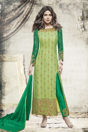 Priyanka Chopra Light Green Net Heavy Embroidery Top with Embroidery Bottom Salwar Kameez