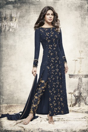 Priyanka Chopra Blue Georgette Heavy Embroidery Top with Embroidery Bottom Salwar Kameez