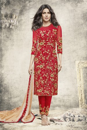 Priyanka Chopra Red Net Heavy Embroidery Top with Embroidery Bottom Salwar Kameez
