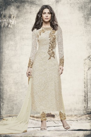 Priyanka Chopra OffWhite Brasso Heavy Embroidery Top with Embroidery Bottom Salwar Kameez