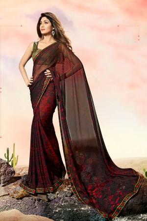 Shilpa Shetty Brown Georgette Print with Lace Border Saree