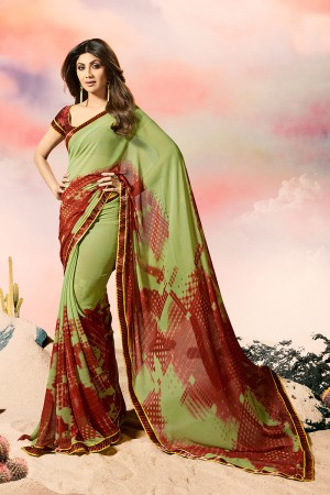 Shilpa Shetty Mehendi Georgette Print with Lace Border Saree