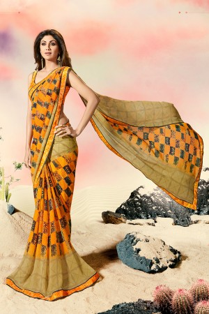 Shilpa Shetty Mustard Georgette Print with Lace Border Saree