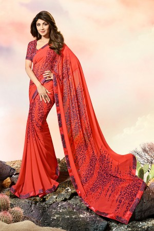 Shilpa Shetty Tometo Red Georgette Print with Lace Border Saree