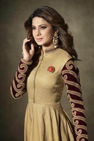 Jennifer Winget Golden Silk & Velvet Cording Embroidery Work on Sleeve with Hand Made Broch On Yoke Salwar Kameez