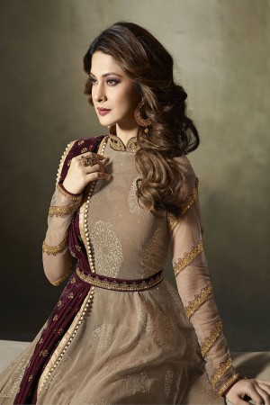Jennifer Winget Chocolate Lycra Jacquard & Net Crafted Embroidery With Beads Diamonds, Glitters and Sequin and Kashmiri Zari work Salwar Kameez