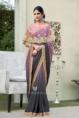 Stupendous Purple & Grey Georgette & Chiffon  Embroidery Lace Border with Embroidery Poncho Saree