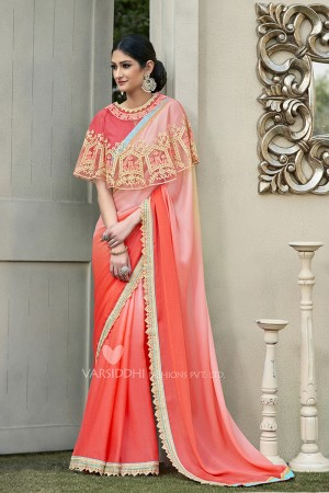 Sparkling Peach Georgette & Chiffon  Embroidery Lace Border with Embroidery Poncho Saree