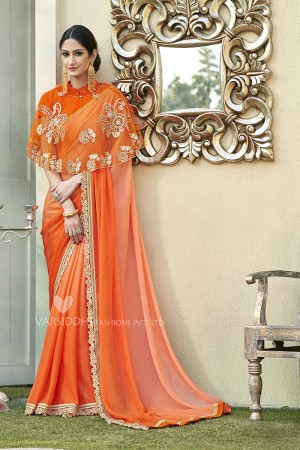 Vibrant Orange Georgette & Chiffon  Embroidery Lace Border with Embroidery Poncho Saree