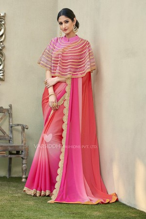 Marvelous Pink Georgette & Chiffon  Embroidery Lace Border with Embroidery Poncho Saree