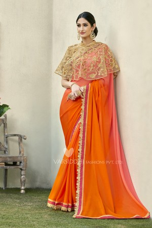 Pleasant Orange Georgette & Chiffon  Embroidery Lace Border with Embroidery Poncho Saree