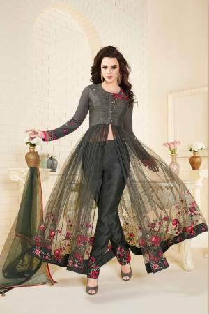 Immaculate Dark Grey Art Silk & Net Heavy Embroidery Thread Work with Stone Work Salwar Kameez