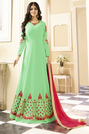 Ayesha Takia Light Green Georgette Heavy Embroidery Thread and Zari Work with Stone Work Salwar Kameez