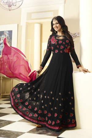 Ayesha Takia Black Georgette Heavy Embroidery Thread and Zari Work with Stone Work Salwar Kameez
