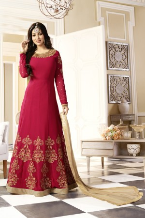 Ayesha Takia Red Georgette Heavy Embroidery Thread and Zari Work with Stone Work Salwar Kameez