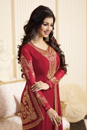 Ayesha Takia Red Georgette Heavy Embroidery Thread and Zari Work Salwar Kameez