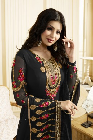 Ayesha Takia Black Georgette Heavy Embroidery Thread and Zari Work Salwar Kameez