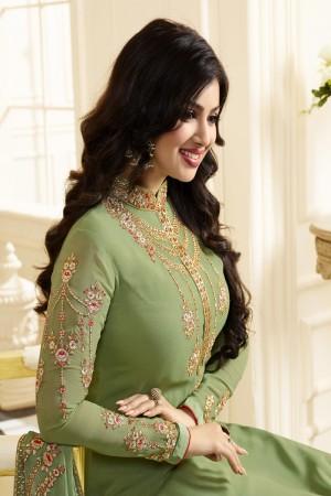 Ayesha Takia Mehendi Georgette Heavy Embroidery Thread and Zari Work Salwar Kameez