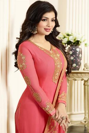 Ayesha Takia Peach Georgette Heavy Embroidery Thread and Zari Work Salwar Kameez