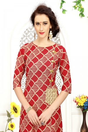 Exquisite Red Rayon Print with Fancy Botton Kurti