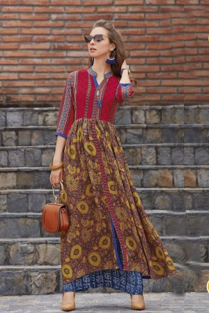 Decent Multicolor Reyon Print with Fancy Kurti