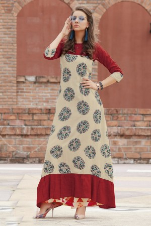 Brilliant Multicolor Reyon Print with Fancy Kurti