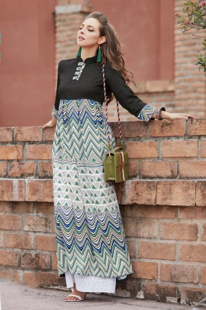 Creative Multicolor Reyon Print with Fancy Kurti