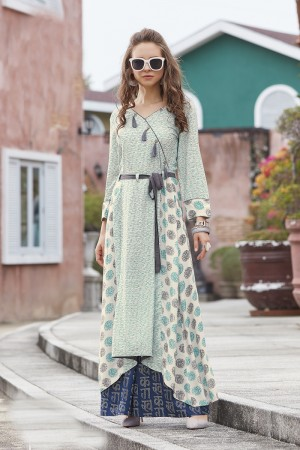 Enticing Multicolor Reyon Print with Fancy Kurti
