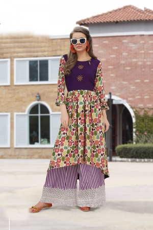 Ethereal Multicolor Reyon Print with Fancy Kurti