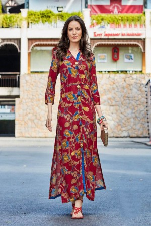 Classy Multi Color Rayon Print with Fancy Botton and Pompom  Kurti