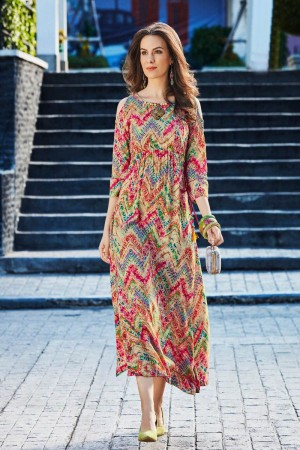 Designer Multi Color Rayon Print with Fancy Botton and Pompom  Kurti