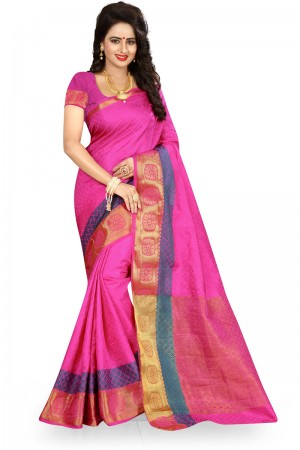 Stylish Pink Poly Cotton Jacquard Saree