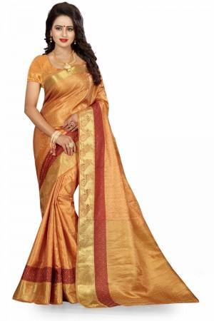 Modish Chiku Poly Cotton Jacquard Saree