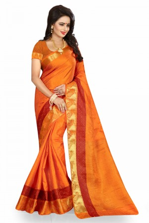 Bedazzling Orange Poly Cotton Jacquard Saree