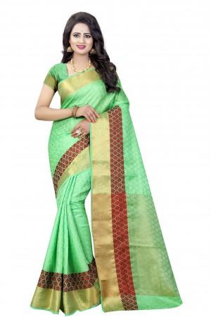 Attractive Pista Poly Cotton Jacquard Saree
